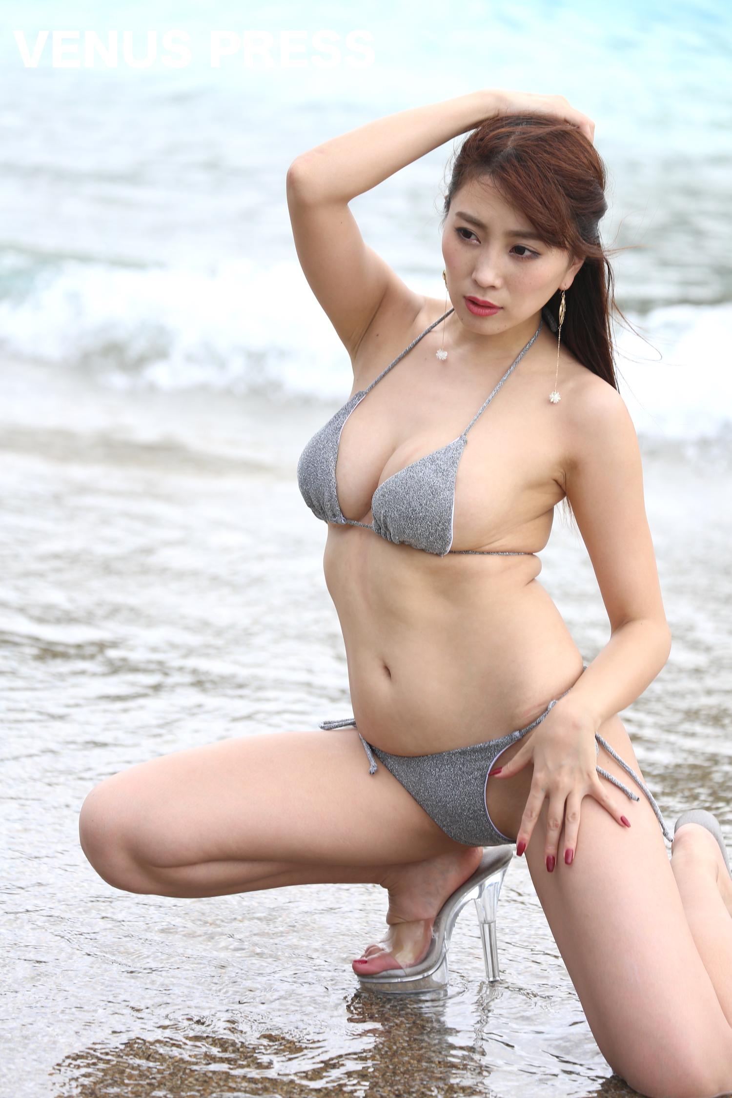 森咲智美(2019年9月23日、大磯ロングビーチにて/撮影:VENUS PRESS編集部)