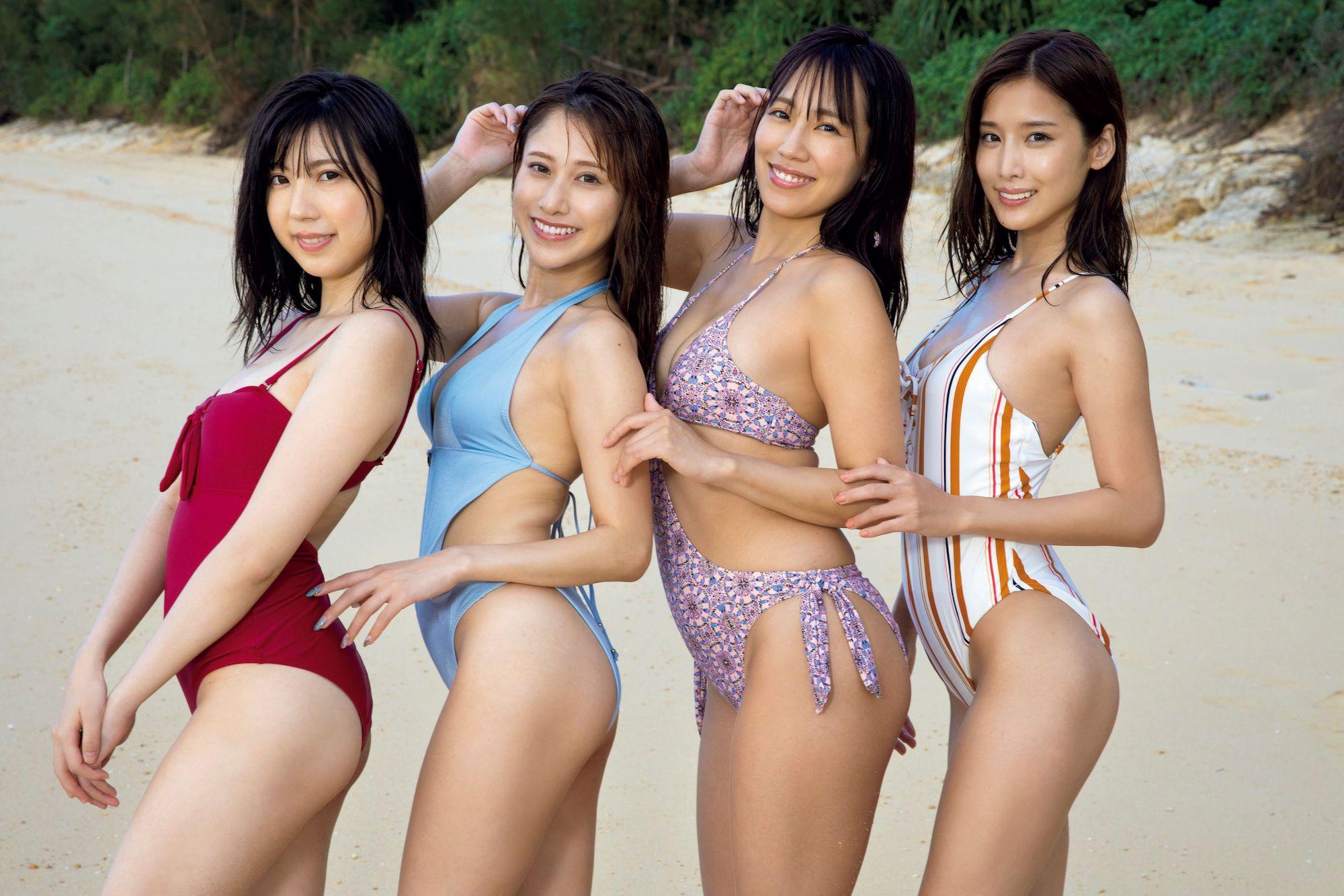 ミスFLASH2021 左から高槻実穂、 名取くるみ、 霧島聖子、 益田アンナ